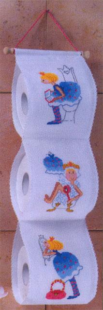 Toilet roll holder: girls From Permin of Copenhagen - Bathroom - Embroidery - Casa Cenina