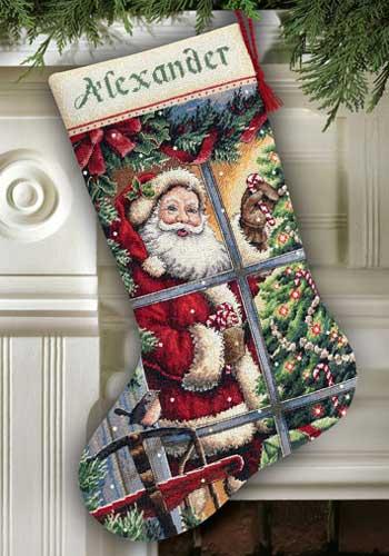 Dimensions Christmas Stocking Kits.Candy Cane Santa Stocking