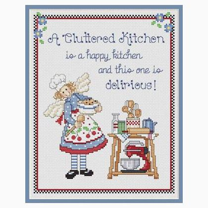 Cluttered kitchen a from sue hillis designs cross for Cross stitch kitchen designs