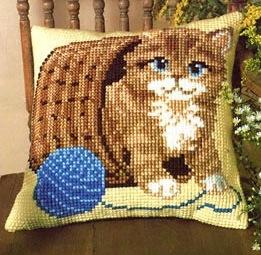 Kussen kat in mand van vervaco kussens pakketten borduren casa cenina - Mand een machine huis ter wereld ...