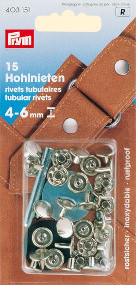 Prym 6-9 mm Tubular Rivets Silver