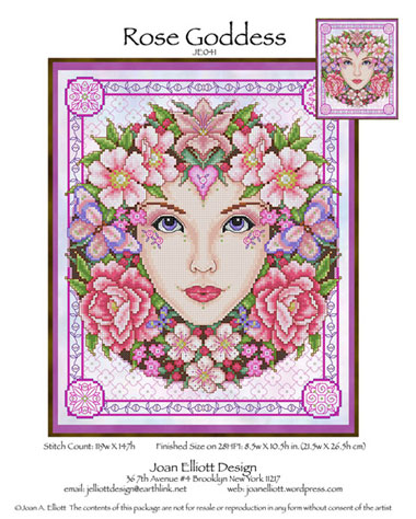 rose goddess from joan elliott cross stitch charts