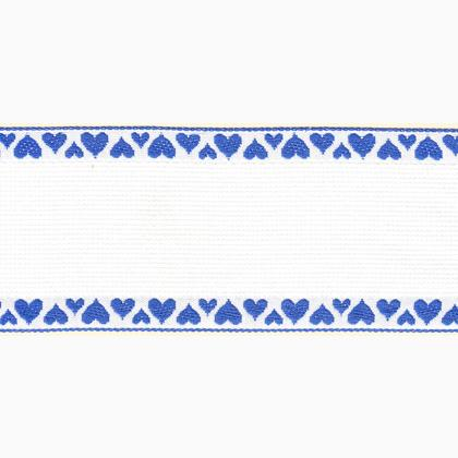 Aida Band 16ct Hearts Blue From Zweigart Band