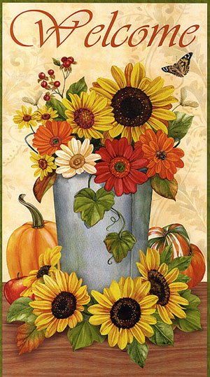 Harvest Abundance Welcome Sunflower Panel From Wilmington