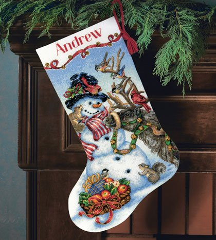 Dimensions Christmas Stocking Kits.Snowman Gathering Stocking