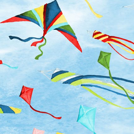 Seaside Village Flying Kites Blue 45x110cm From South Sea