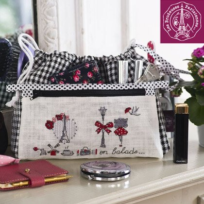 maxi pochette mademoiselle rouge lino da les brodeuses. Black Bedroom Furniture Sets. Home Design Ideas