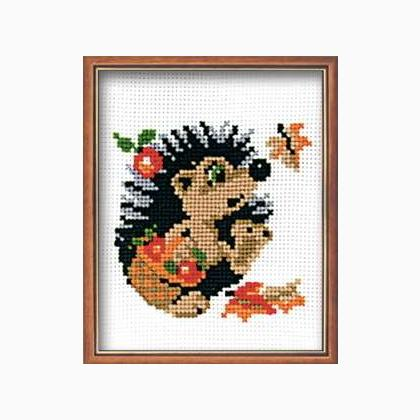 Hedgehog In Basket From Riolis Animals Cross Stitch Kits Kits