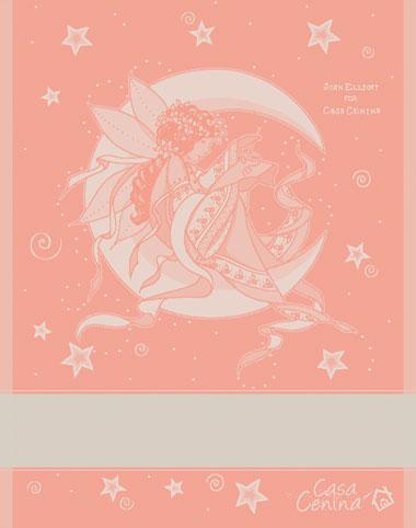 Little stitching fairy kitchen towel peach tessitura artistica