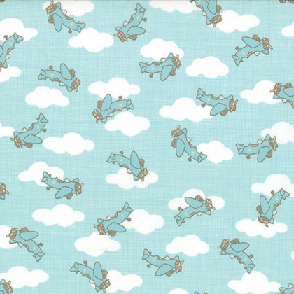 Story book childrens airplanes aqua 45x110cm from moda for Airplane print cotton fabric