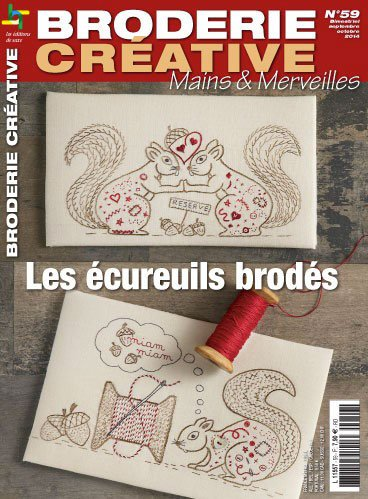 broderie cr ative 59 les cureuils brod s from les dition de saxe books and magazines. Black Bedroom Furniture Sets. Home Design Ideas
