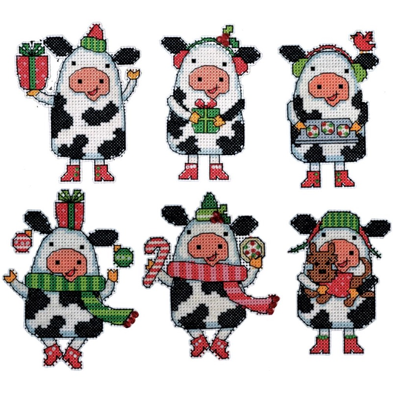 Christmas Cows Ornaments on Plastic Canvas Design Works Cross Stitch Kit 6