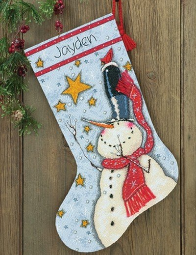 Dimensions Christmas Stocking Kits.Tall Hat Snowman Stocking