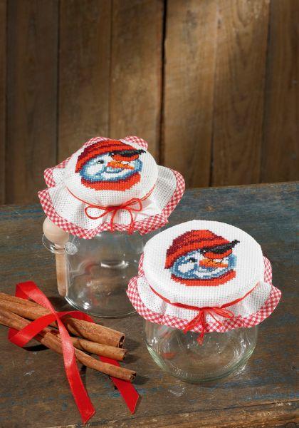 Abdeckung marmelade gl ser snowman von permin of copenhagen fur das haus sticksets sticken - Glaser dekorieren fur weihnachten ...