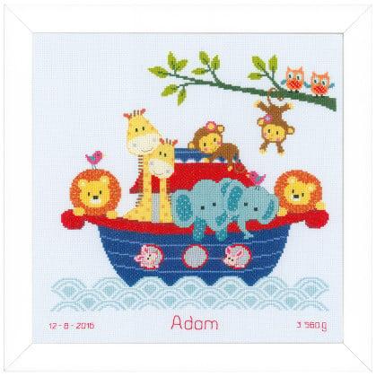 Sampler nascita animali sulla barca da vervaco bambini for Punto croce bambini nascita