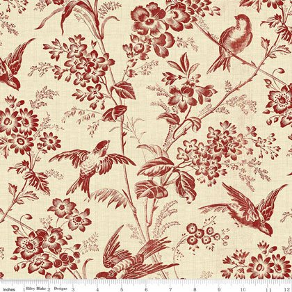 toile de jouy toile garden red 45x110cm da riley blake. Black Bedroom Furniture Sets. Home Design Ideas