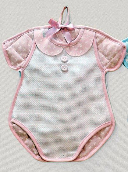 Fiocco nascita body rosa da filet per i bimbi for Idee punto croce bimbi