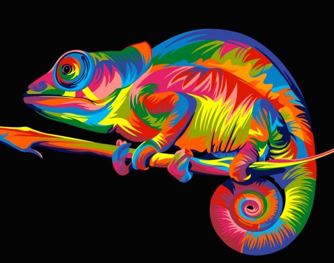 Rainbow Chameleon From Artventura Paint By Numbers