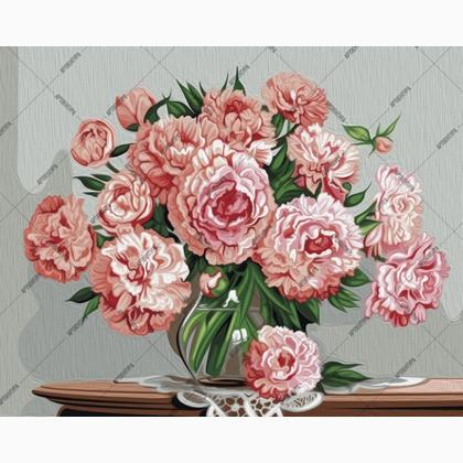 Peonies In A Glass Vase From Artventura Paint By Numbers Kits