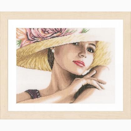 femme avec chapeau de lanarte romantic collection kit au point de croix kits casa cenina. Black Bedroom Furniture Sets. Home Design Ideas