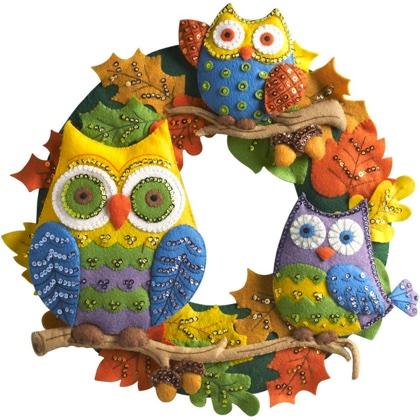 Felt Owl Wreath Applique From Bucilla Bucilla Kits Casa Cenina
