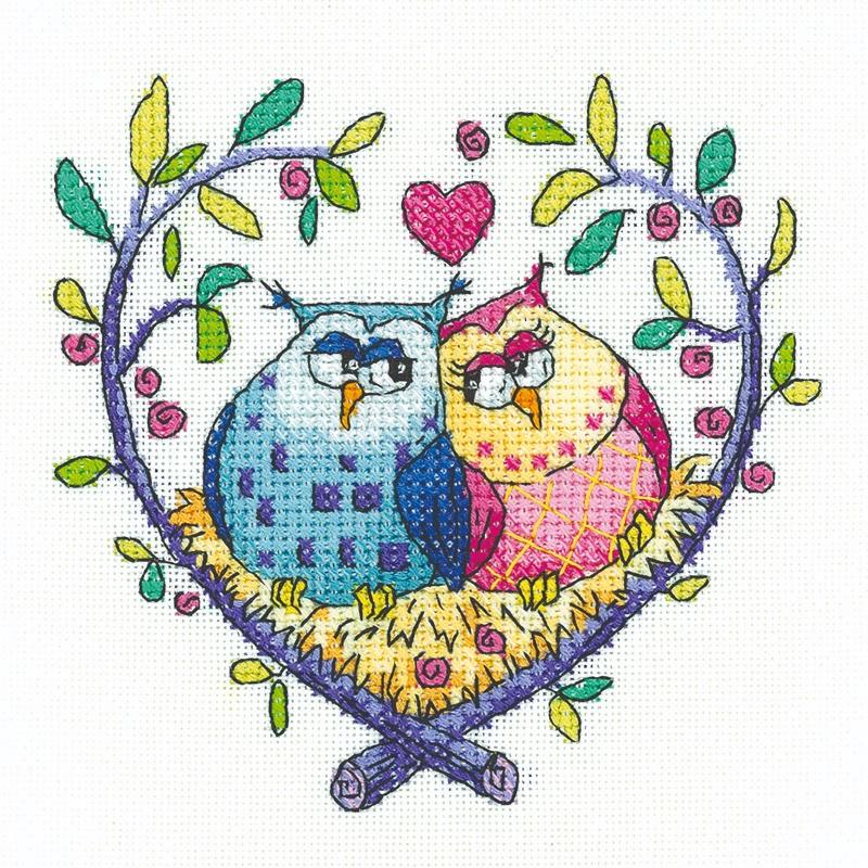 Heritage Crafts Cross Stitch Kit Christmas Owls