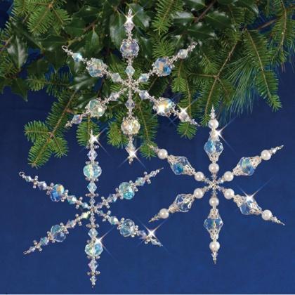 Holiday Beaded Ornament Kit Vintage Snowflakes