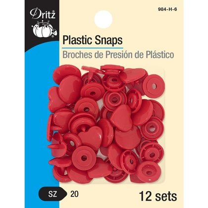 Plastic Snaps - Red Heart