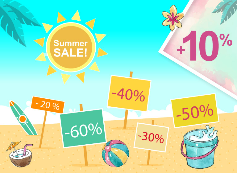 Summer Sale: an additional 10% off on the already reduced prices of a whole lot of items!